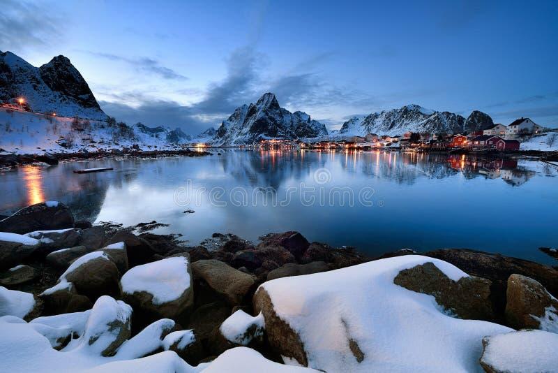 Hamnoy blue hour , Lofoten Archipelago in Norway in the winter time. Blue hour in in Lofoten Archipelago , Norway in the winter time , Reine fisher village in stock photo