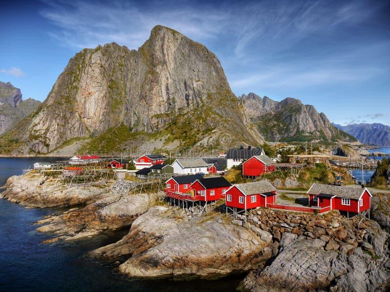 Hamnoy feriesemesterort, Lofoten öar royaltyfri bild