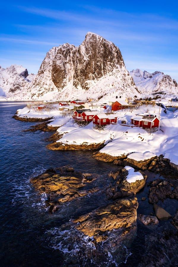 Hamnoydorp in de winter, Lofoten-Eilanden, Noorwegen royalty-vrije stock fotografie
