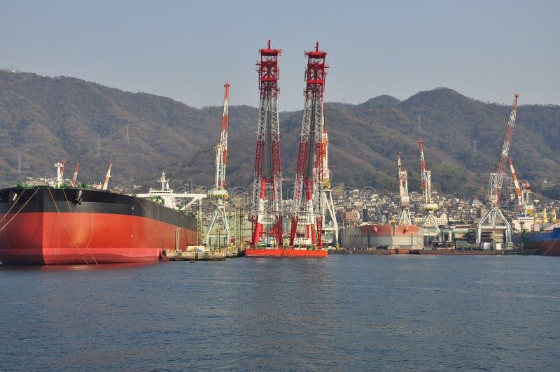 Hamnplats för skeppbyggnad i Kure, Japan arkivbilder