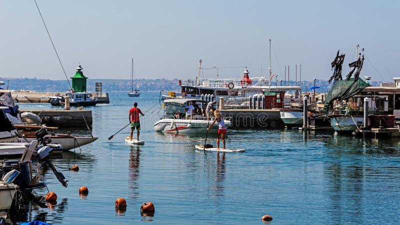 Hamnplatser i Piran royaltyfri bild