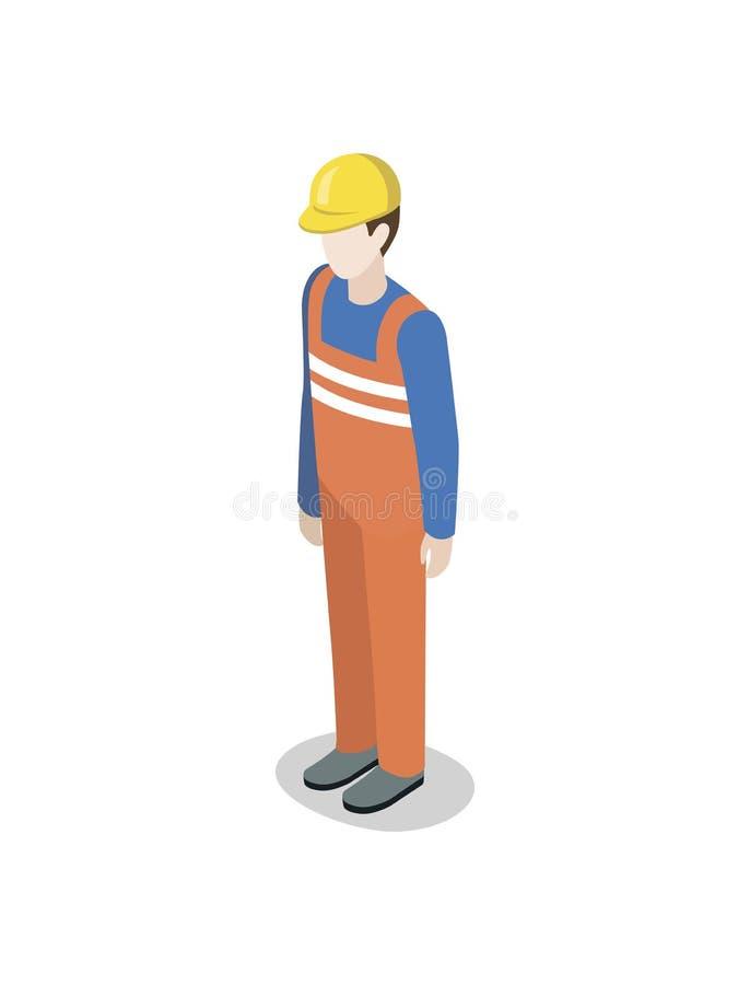 Hamnstadarbetare i den enhetliga isometriska beståndsdelen 3D stock illustrationer