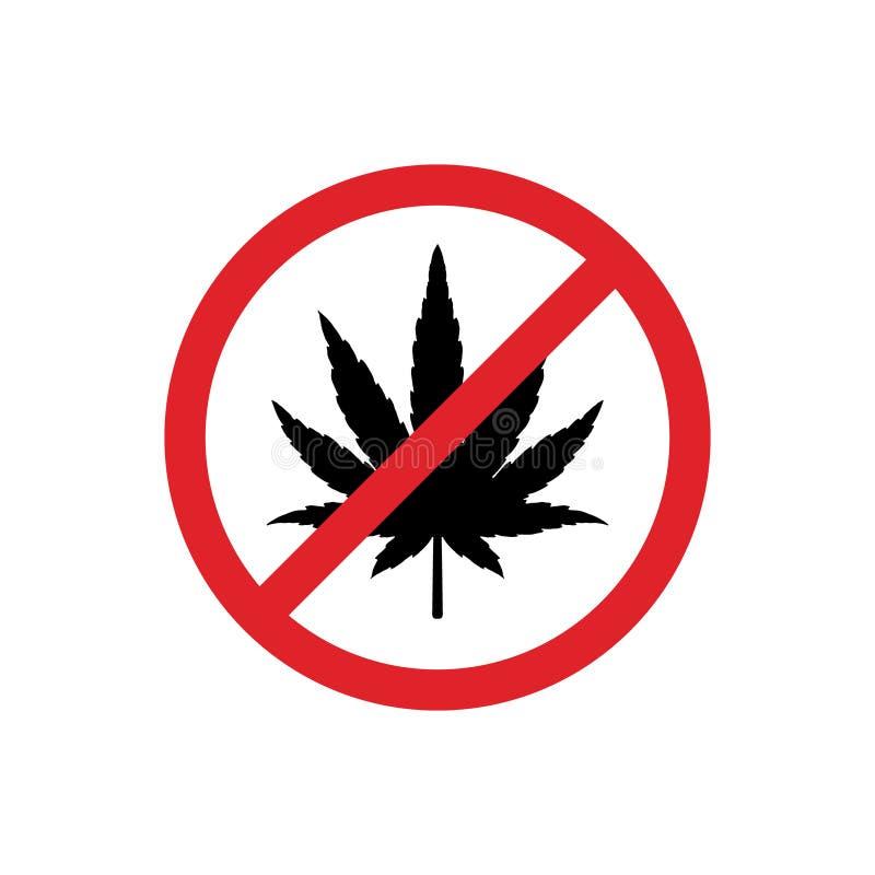 Hampablad i röd cirkel förbjuda tecknet Marijuanabild Cannabisväxt också vektor för coreldrawillustration royaltyfri illustrationer