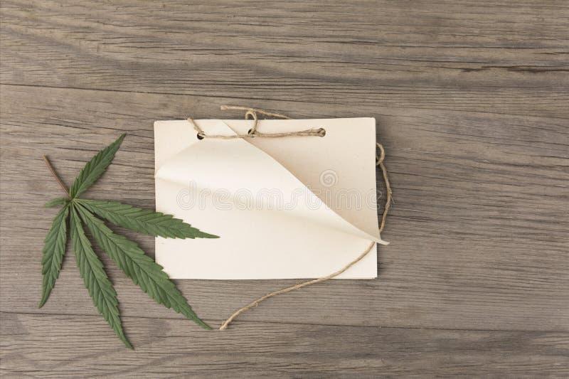 Hampasidor och blommor med den handgjorda hantverkanteckningsboken på träbakgrund för gammal grunge Top beskådar Minimalistic mod royaltyfria foton