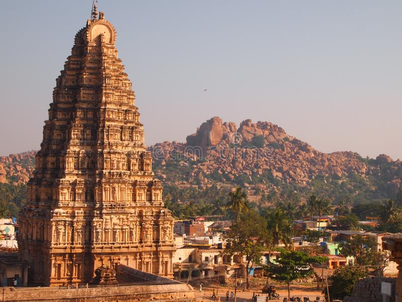 The Hampi temple complex, a UNESCO World Heritage Site in Karnataka, India. Hampi, also referred to as the Group of Monuments at Hampi, is a UNESCO World royalty free stock photography