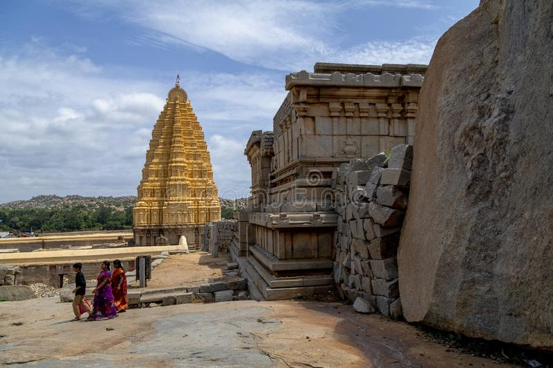 Hampi, India. 26 Aug 2019 : Virupaksha Temple in Hampi India.Virupaksha Temple is located in Hampi in Bellary district of. Karnataka state royalty free stock photography