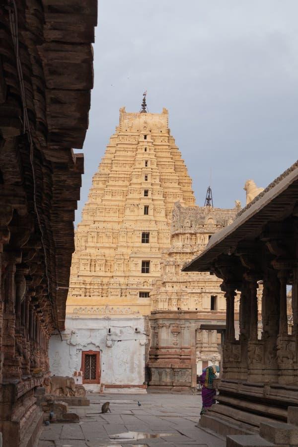 Hampi, India July 8, 2019 : Inner View of Virupaksha or Pampapati temple at Hampi, Karnataka, India stock image