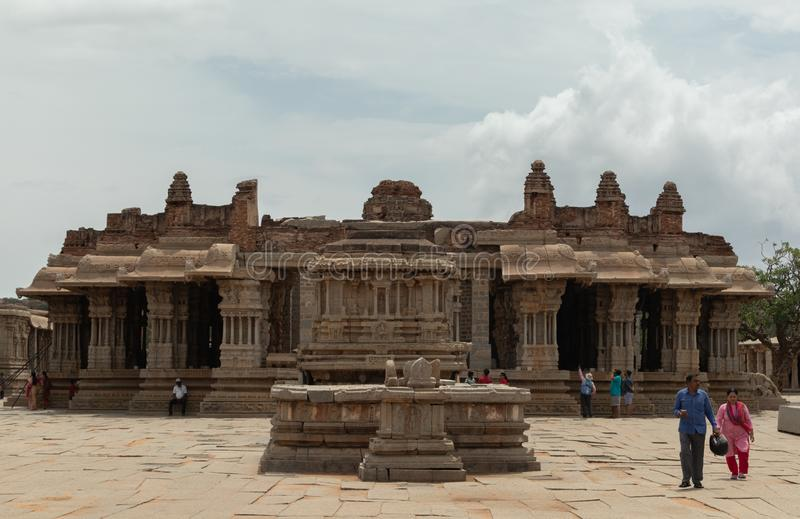 Hampi, India July 9, 2019 : Wide angle view of Vittala Temple in Hampi, Karnataka, India royalty free stock image