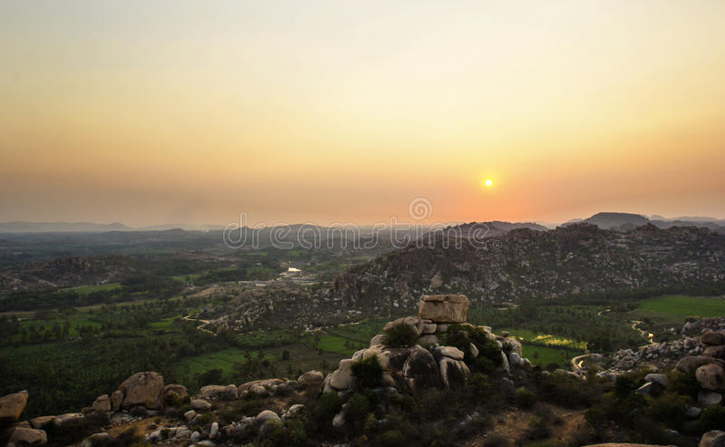 Hampi, India. View from Hanuman temple at sunset. royalty free stock photography