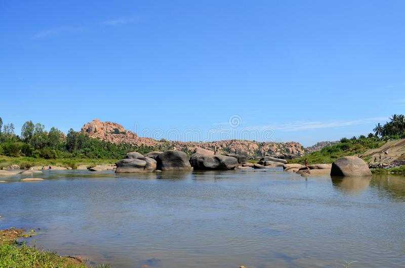 Tungabhadra River in Hampi, Karnataka - South of India. Hampi is situated in the eastern part of central Karnataka in India stock image
