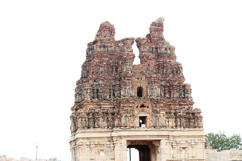 Hampi vittala temple. Main gopura of vittala temple at hampi half eroded royalty free stock images