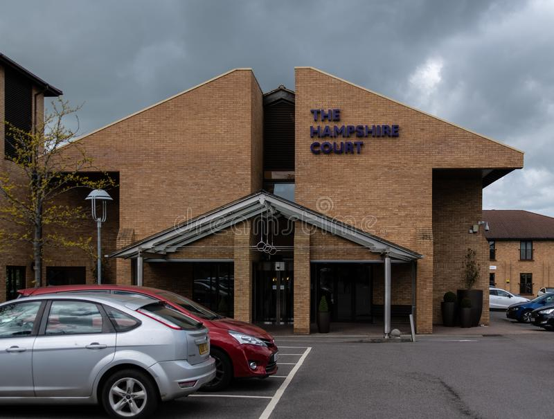 Hampshire Court entrance. Basingstoke, United Kingdom - April 27 2019:   The main entrance to the QHotels Hampshire Court Hotel in Centre Drive royalty free stock photo