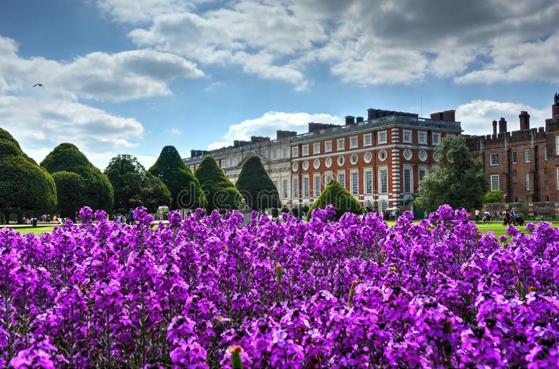 Hampton Court Palace. East Molesey, UK - May 26, 2015 - A view of Hampton Court Palace, a royal palace in the borough of Richmond upon Thames, London, England stock image