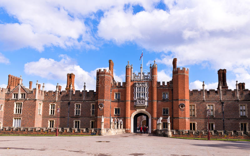 Hampton Court Palace in England. Hampton Court Palace is a royal palace in the town of East Molesey, Richmond upon Thames, Greater London, England and was a royalty free stock image