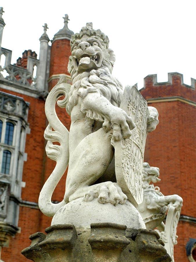 Hampton Court Palace Lion Statue. Hampton Court Palace Gateway, Surrey stock photography