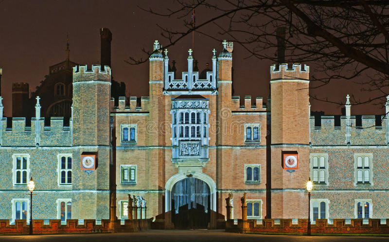 Hampton Court Palace at night royalty free stock images