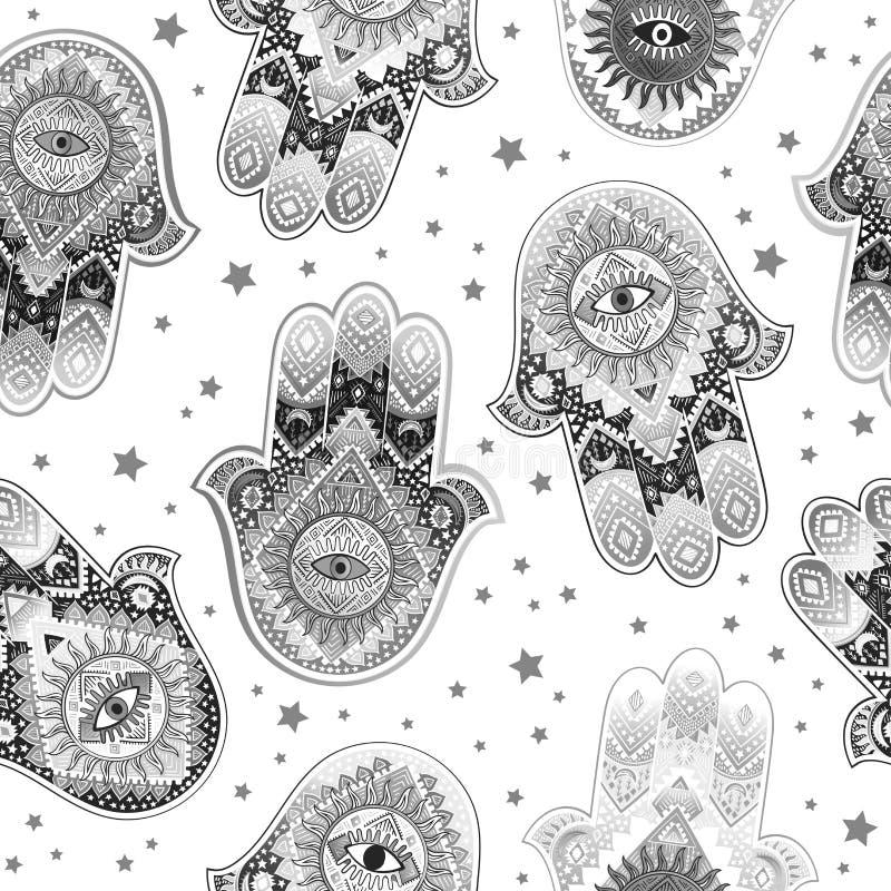 Hamsa印刷品设计 阿兹台克毛巾,瑜伽席子 传染媒介鞋带无刺指甲花纹身花刺样式 能为纺织品使用 皇族释放例证