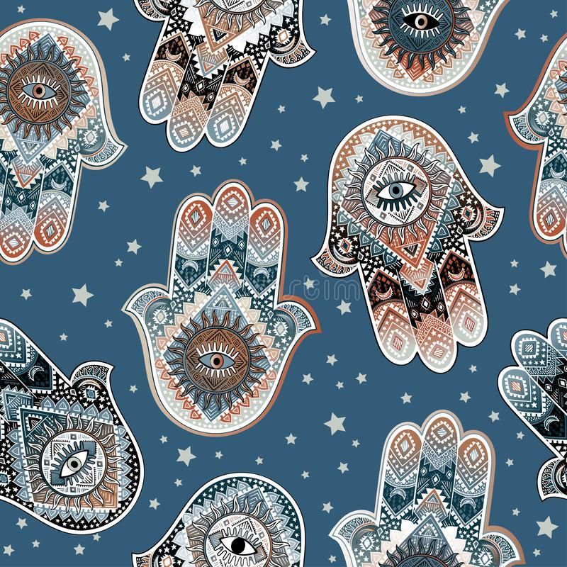 Hamsa印刷品设计 阿兹台克毛巾,瑜伽席子 传染媒介鞋带无刺指甲花纹身花刺样式 能为纺织品使用 库存例证