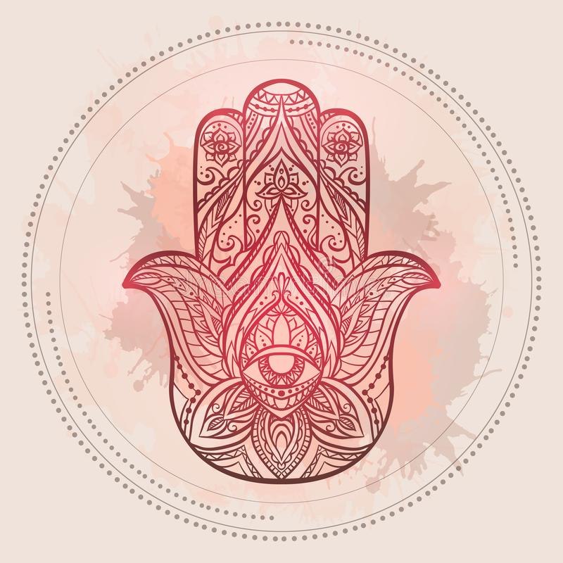 Hamsa的无刺指甲花例证与boho样式和水彩斑点的在浅粉红色的背景 Buddhas手 皇族释放例证