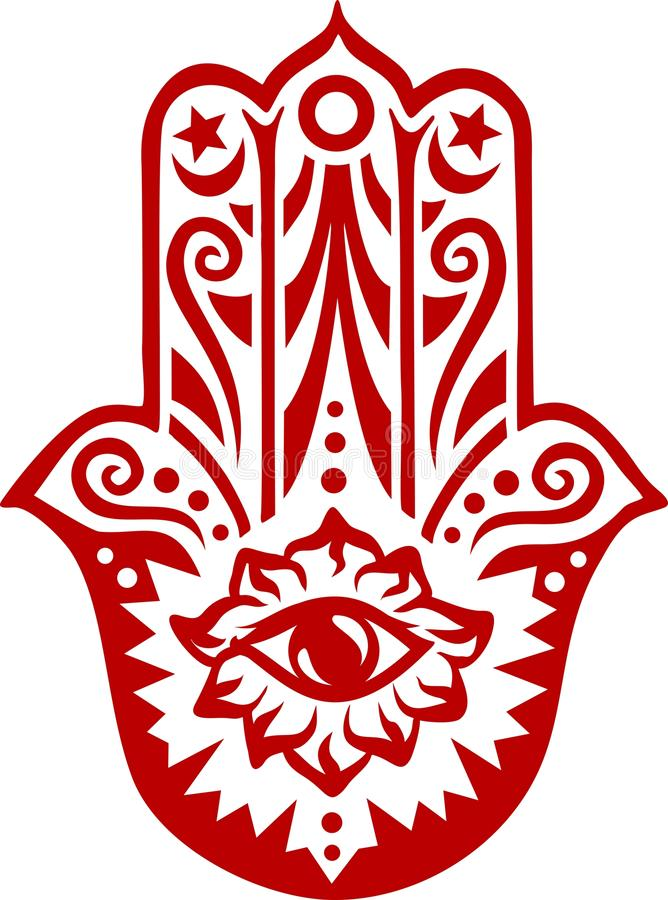 Hamsa - рука Фатимы - талисман предохранения иллюстрация штока
