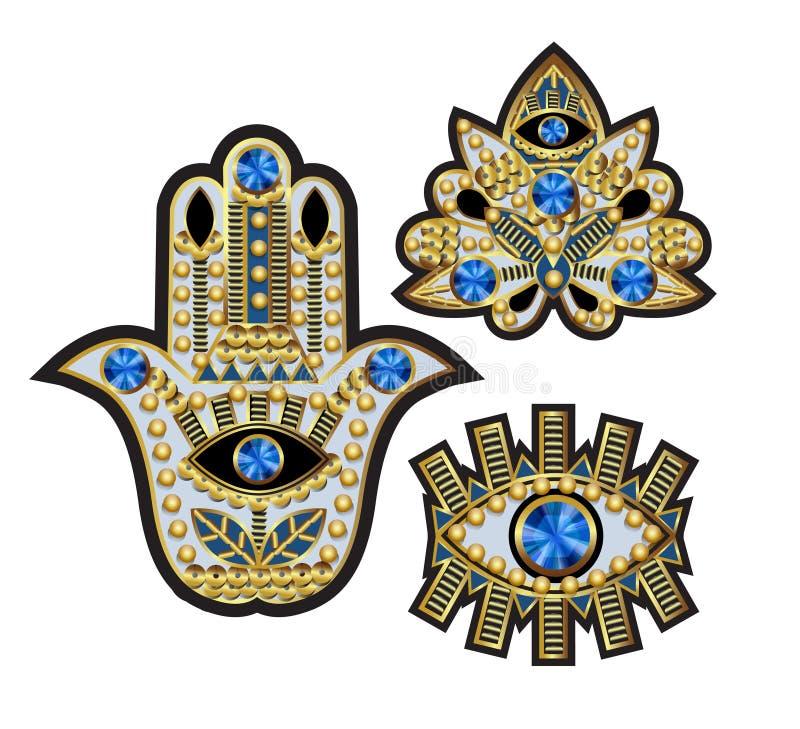 Hamsa, alle-ziend oog en lotusbloemflarden, met parels, lovertjes en juwelen worden geborduurd die Vector illustratie vector illustratie