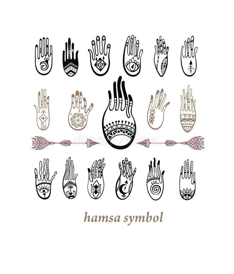 Hamsa Boho stil royaltyfri illustrationer