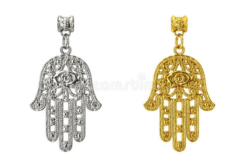 Hamsa d'argento e dorato, mano di Fatima Amulet Coulomb rende 3D illustrazione vettoriale