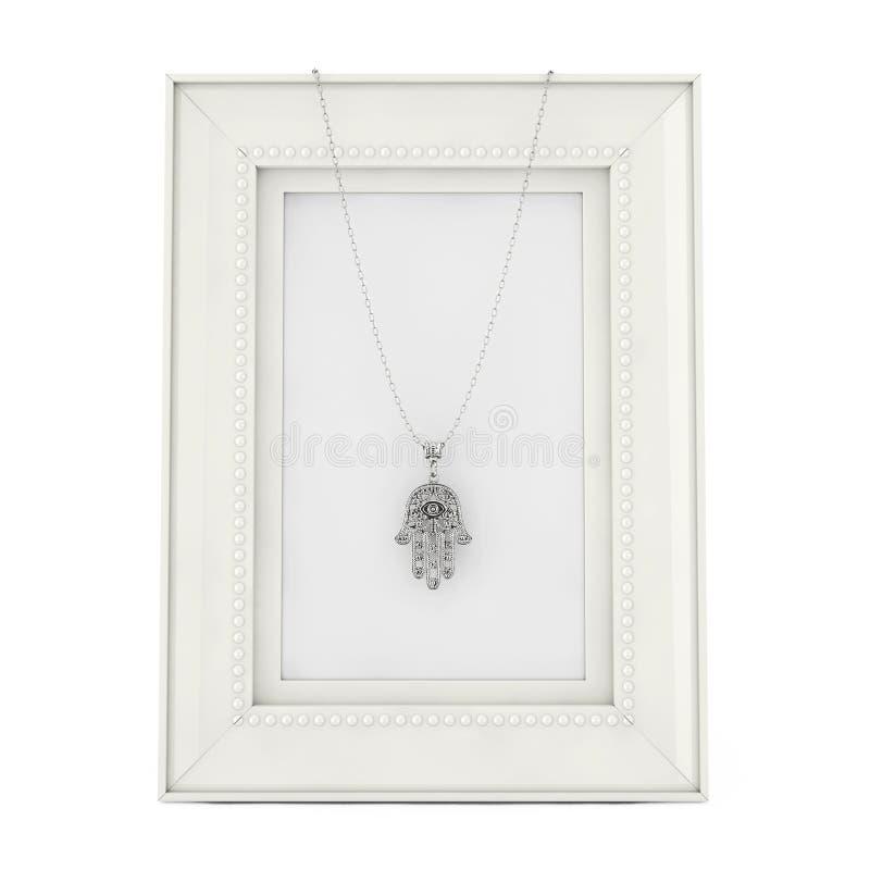 Hamsa d'argento, mano di Fatima Amulet Coulomb sopra la foto vuota Fra illustrazione vettoriale