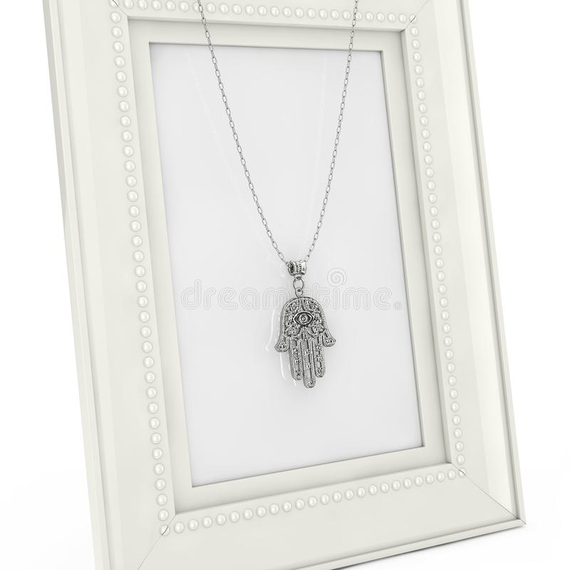Hamsa de prata, mão de Fatima Amulet Coulomb sobre a foto vazia Fra ilustração do vetor
