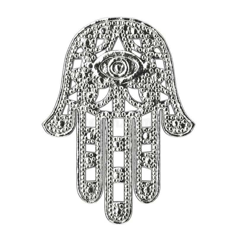 Hamsa de prata, mão de Fatima Amulet Symbol rendição 3d ilustração do vetor