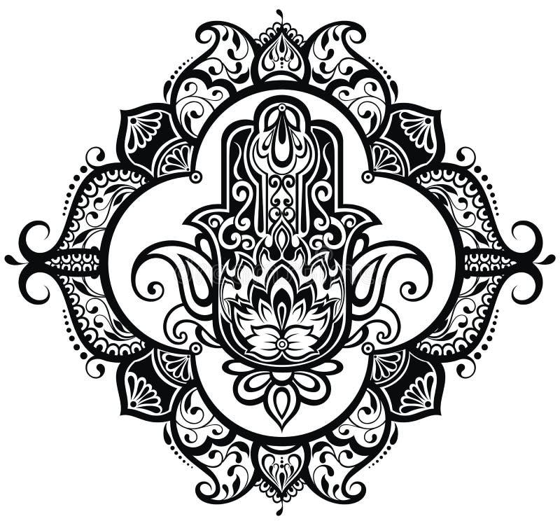Hamsa dibujado mano ilustración del vector