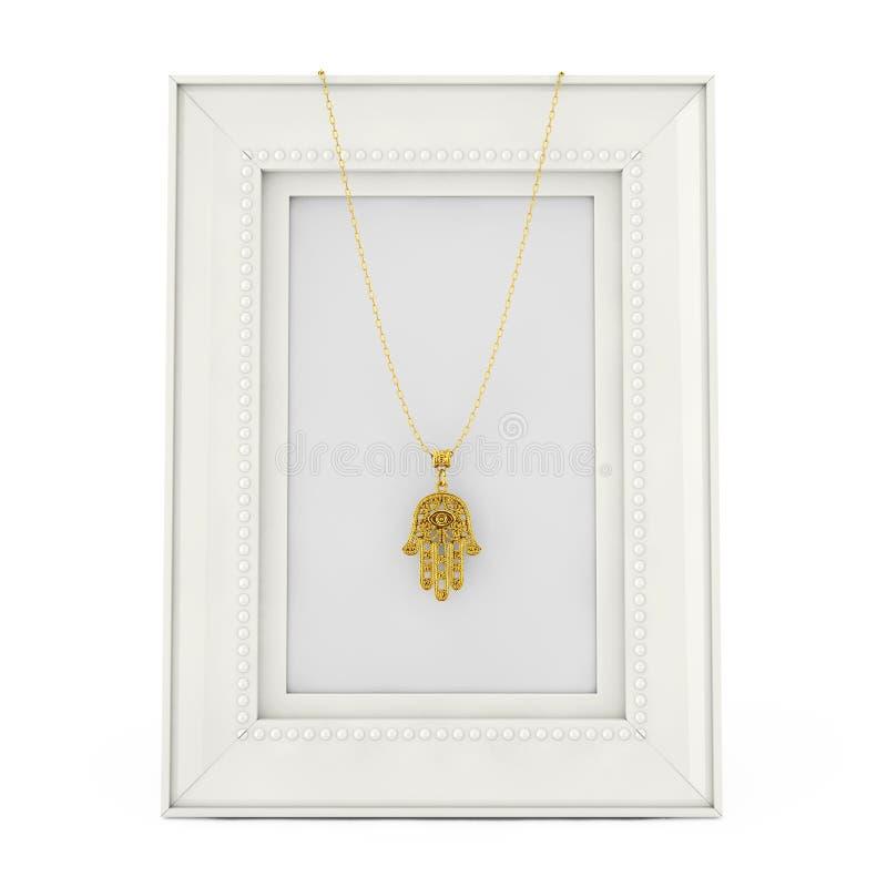 Hamsa dorato, mano di Fatima Amulet Coulomb sopra la foto vuota Fra illustrazione di stock