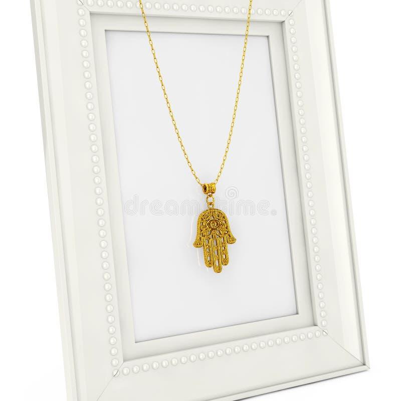 Hamsa dorato, mano di Fatima Amulet Coulomb sopra la foto vuota Fra illustrazione vettoriale