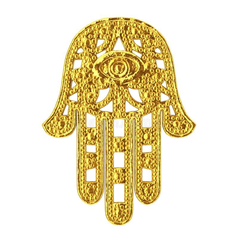 Hamsa dorato, mano di Fatima Amulet Symbol rappresentazione 3d illustrazione vettoriale