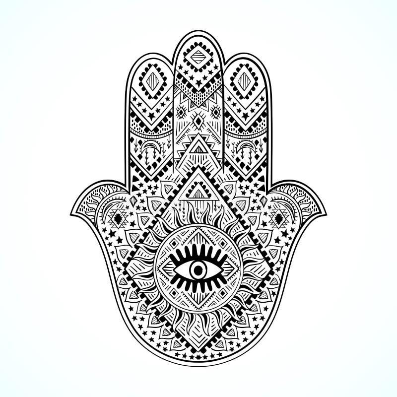 Hamsa-Druckgestaltung Aztektuch, Yogamat Vector lace Henna tattoo style Kann für Textilien verwendet werden stock abbildung