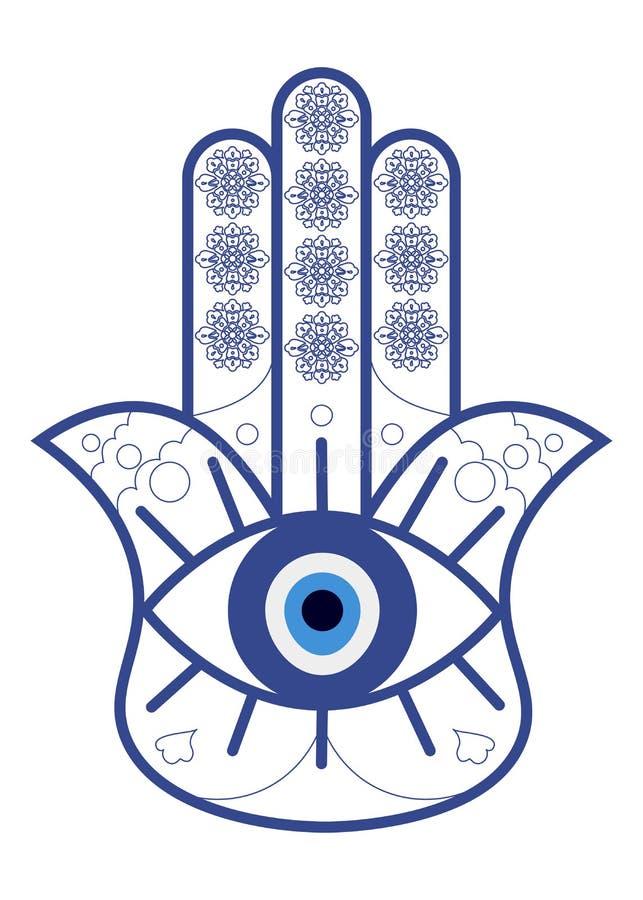 Hamsa eller Fatima Hand med det onda ögat Nazar isolerade Hamsa amulett eller handen av den Fatima vektorillustrationen royaltyfri illustrationer
