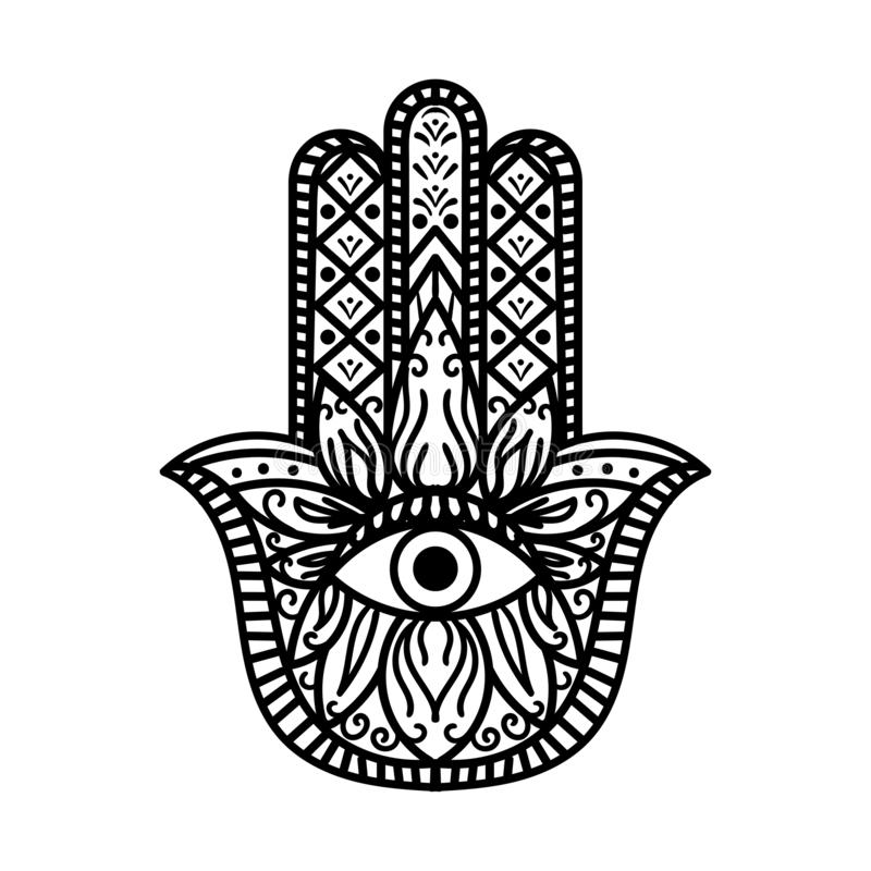 Hamsa Fatima Hand Traduzione Amulet Monochrome illustrazione di stock