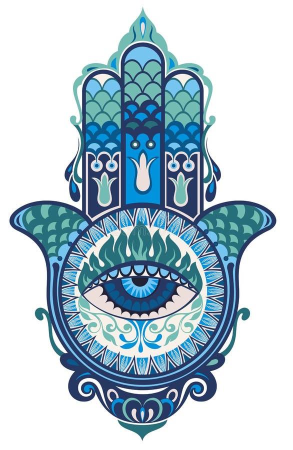 Hamsa hand royaltyfri illustrationer
