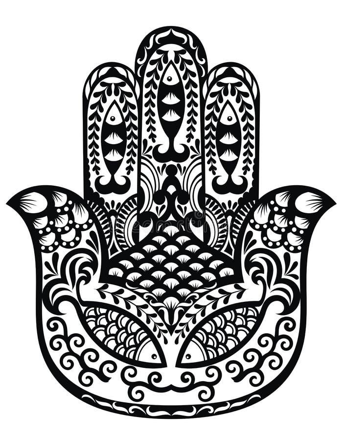 Hamsa hand av Fatima, vektorillustration vektor illustrationer
