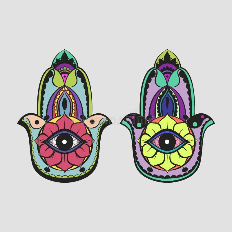 Download Hamsa Hand Colorful Drawing Stock Vector