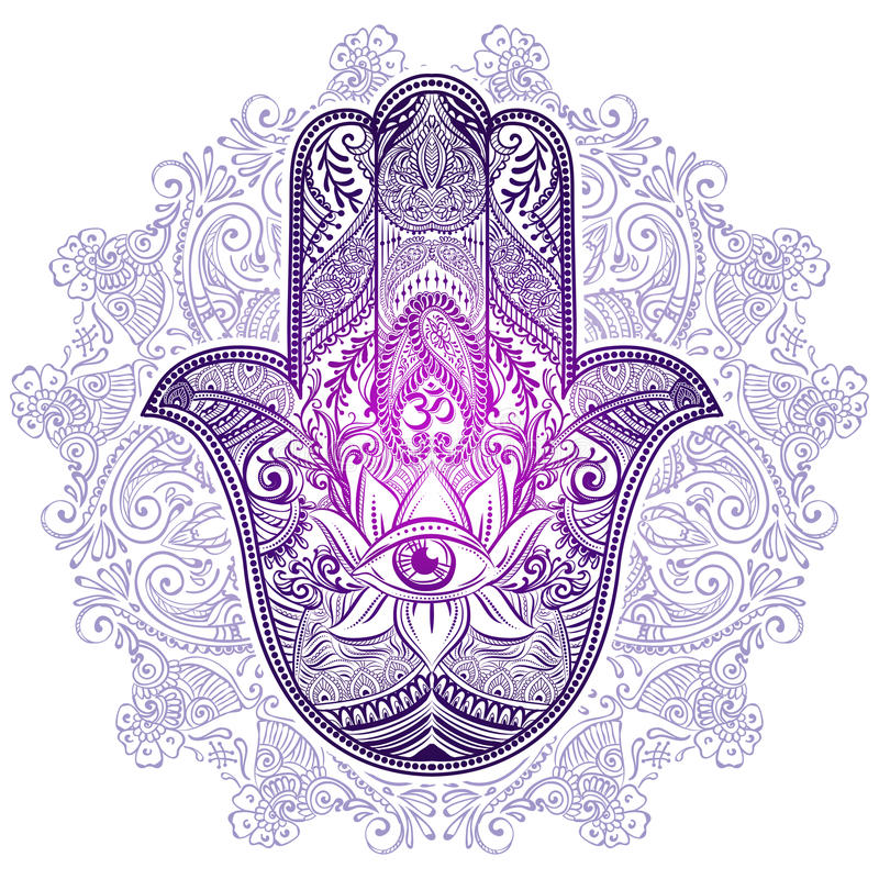 Download Hamsa Hand Of Fatima Stock Vector Illustration Mantra