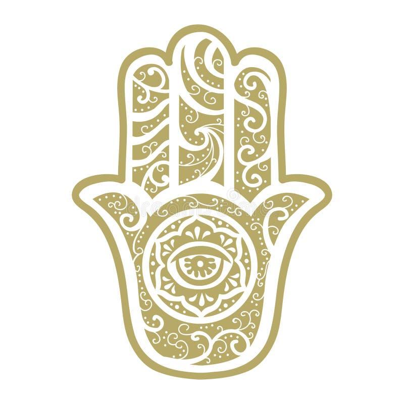 Hamsa Hand stock vector. Illustration of drawn, mandala - 99201869