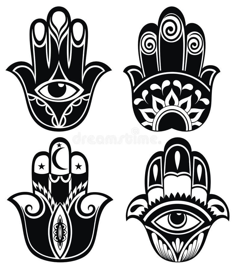 Hamsa hand, hand av Fatima - amulett stock illustrationer