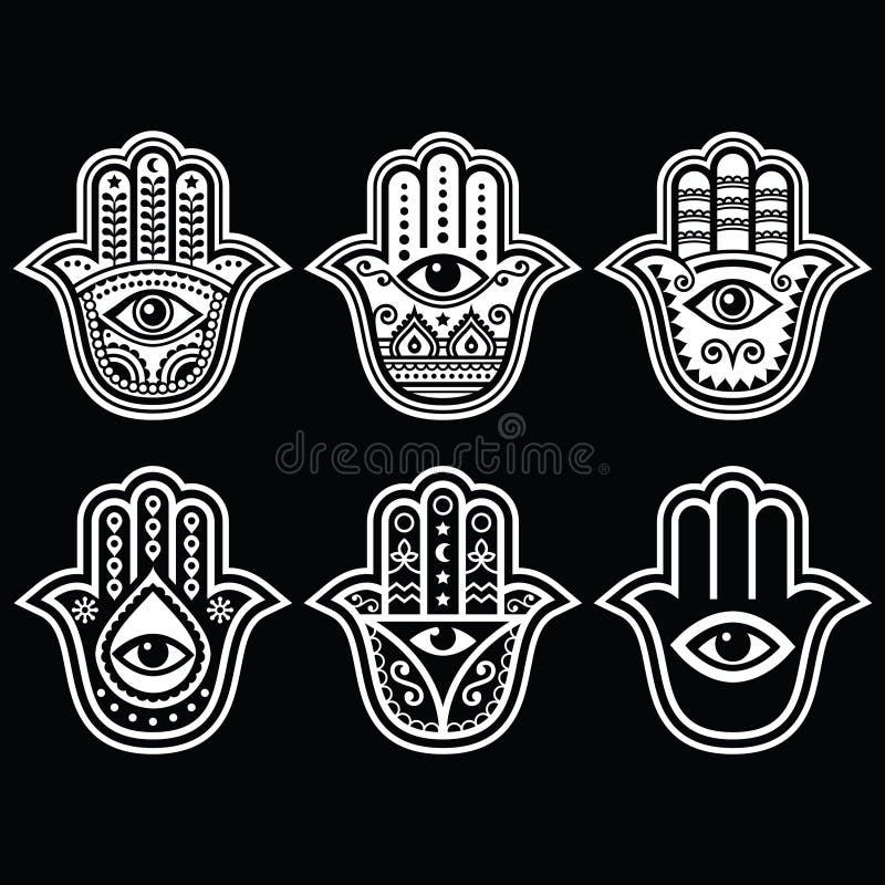 Hamsa-Hand, Hand von Fatima - Amulett, Symbol des Schutzes vor Teufelauge lizenzfreie abbildung