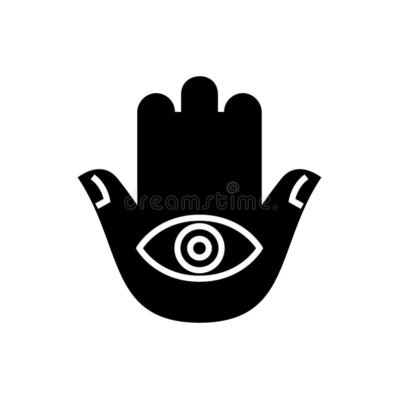 Hamsa hand icon, vector illustration, black sign on isolated background royalty free illustration