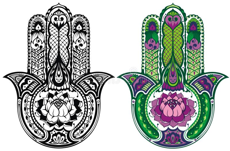 Hamsa hand set vector illustration