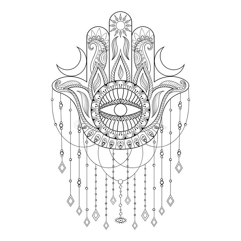 Download Hamsa Hand Vector Illustration Drawn Symbol Of Protection Stock