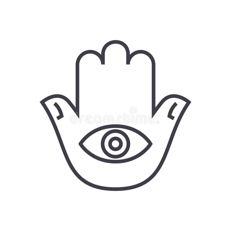 Hamsa hand vector line icon, sign, illustration on background, editable strokes royalty free illustration