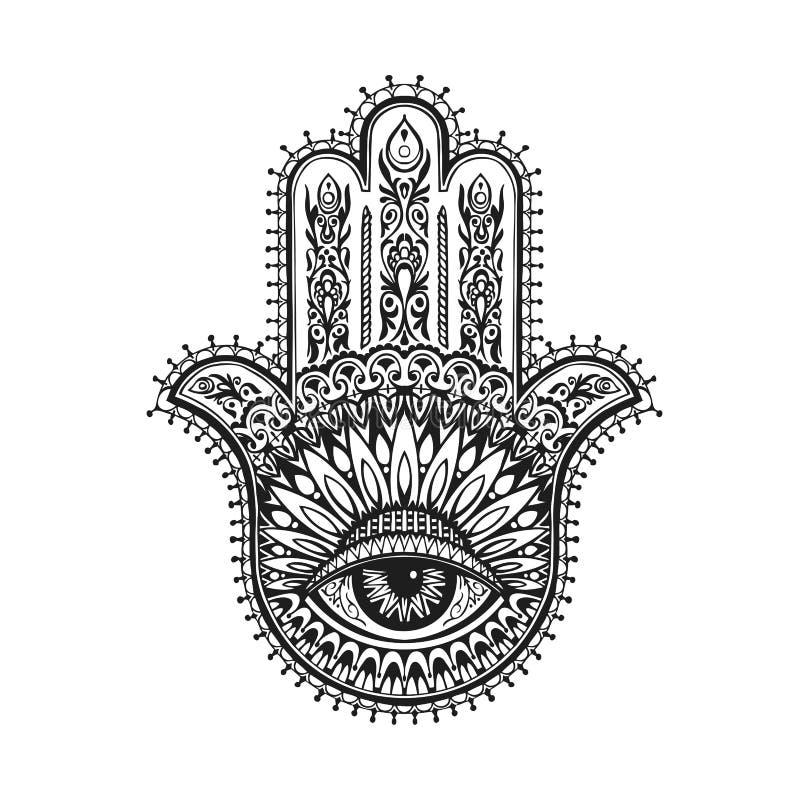 Hamsa indio dibujado mano con los ornamentos étnicos Ilustración del vector stock de ilustración