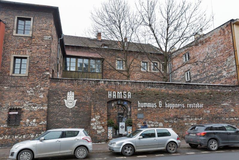 Hamsa Izraelicka restauracyjna fasada w Kazimierz Żydowskim okręgu krakow Poland obraz royalty free